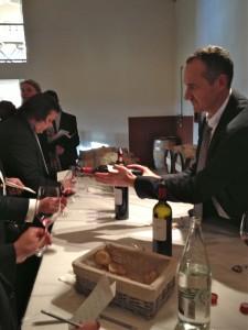 Gabriel Vialard pouring tasting samples of 2012