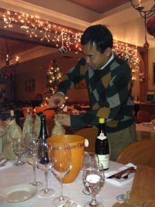 Participant Kevin Shin preparing his bottle for the tasting dinner