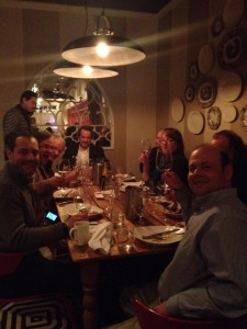 With Laurent Dufau (back of the table), Terroirist blog author David White, Phil Bernstein of MacArthur Wine Importer, critic John Gilman, sommeliers Maria and David Denton